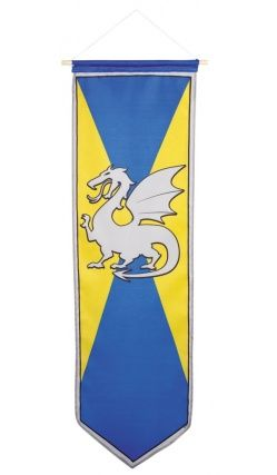 Médiéval standard chevaliers dragon camelot parti décoration long grand drapeau bannière