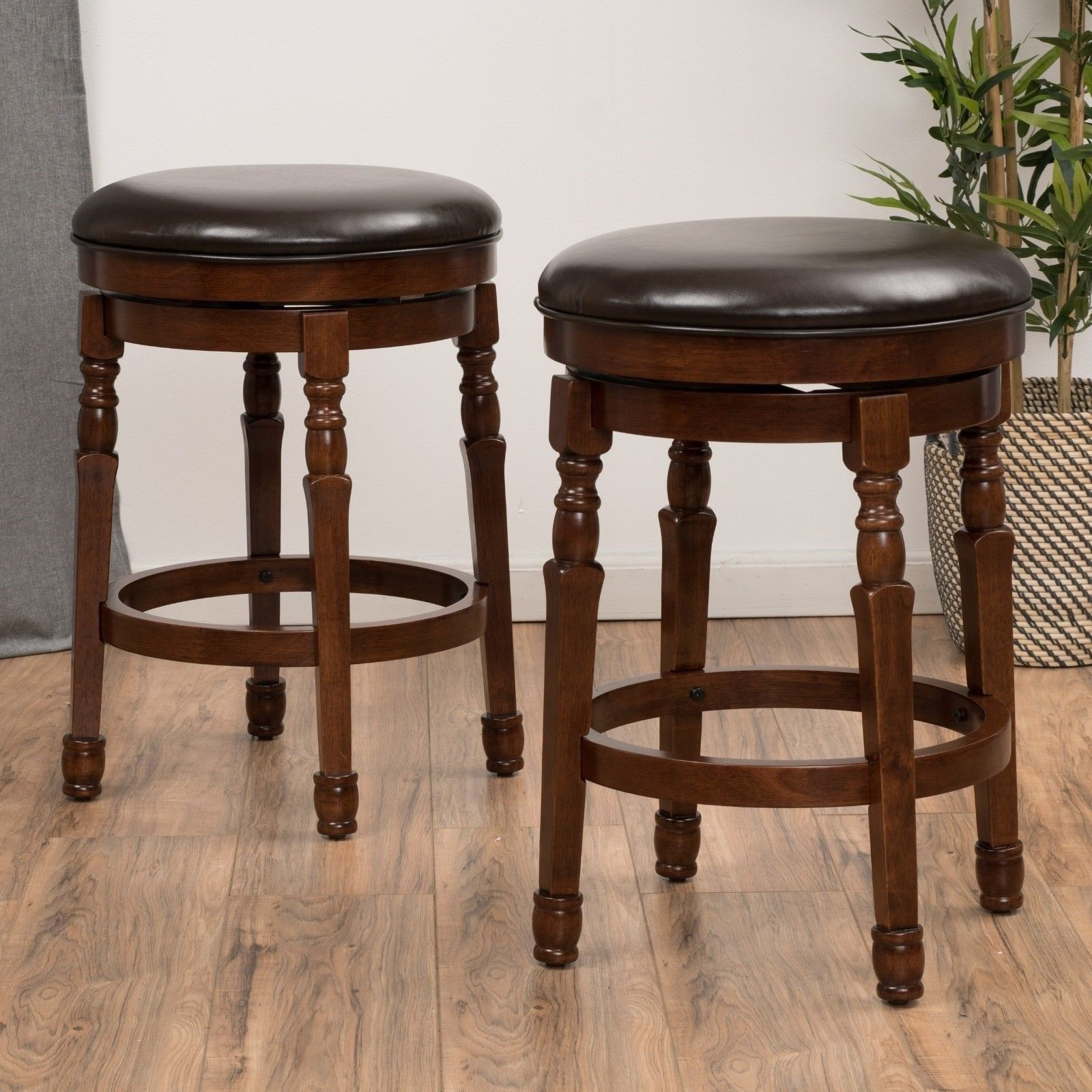 Set Of 2 Traditional Brown Leather Swivel Counter Stools