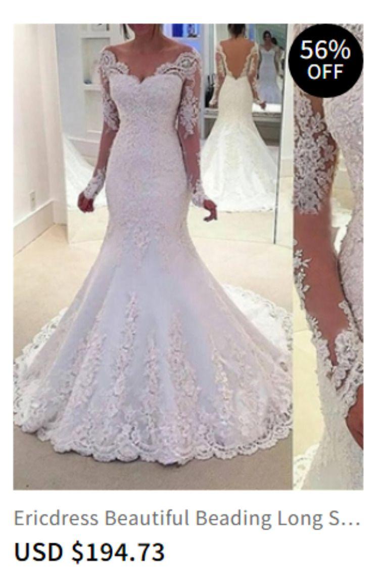 b7e5c28ece20 Beautiful Beading Long Sleeves Backless Mermaid Wedding Dress Item Code:  12434690 Material:Tulle christmas