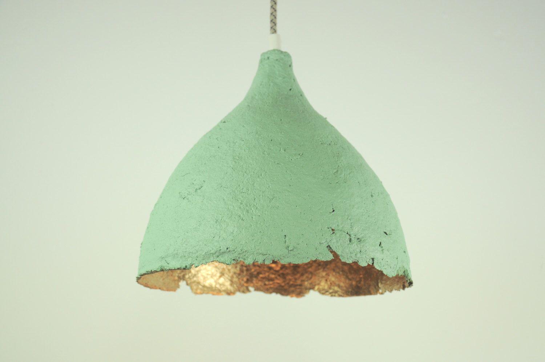 "Hanging lamp paper mache ""drop""- Ocean blue, gold paper pendant ... for Recycled Paper Lamp  34eri"