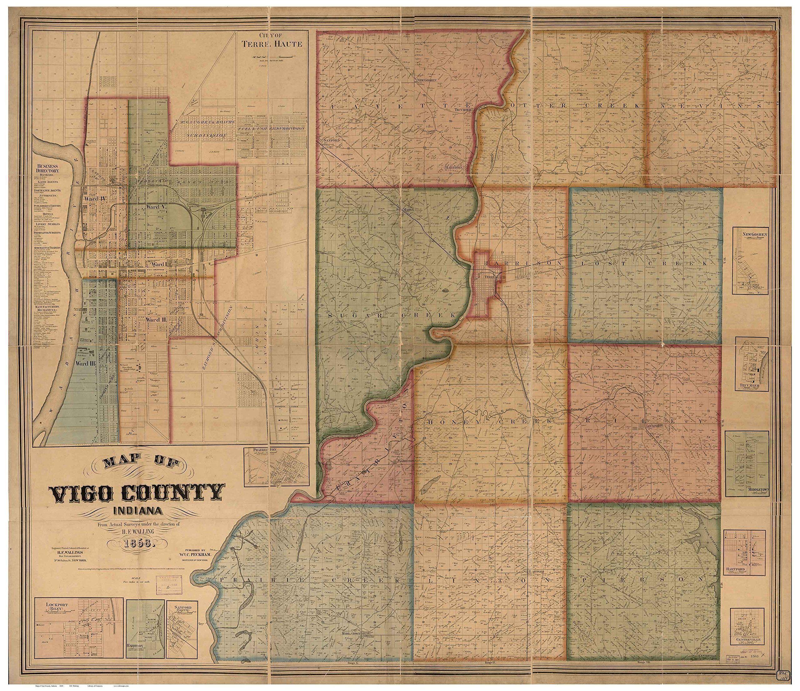 Vigo county indiana wall map reprint with homeowner names