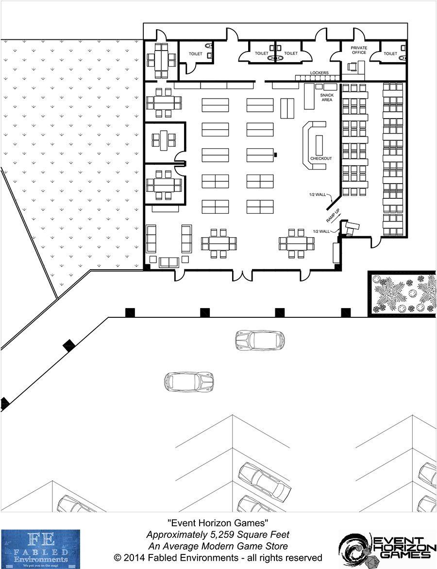 Modern Floorplans An Average Modern Game Store Fabled Environments Modern Floorplansdrivethrurpg Com Modern Games Game Store Floor Plans