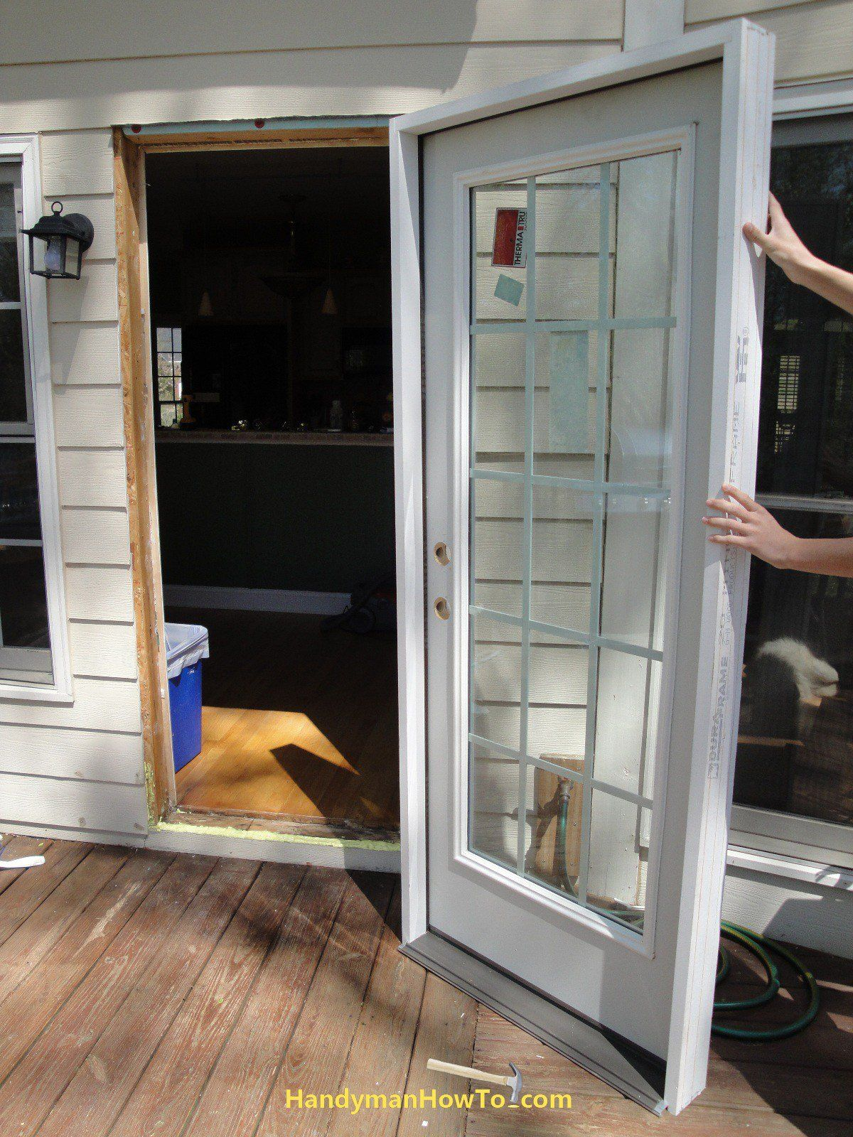 How To Replace An Exterior Door Install The New Pre Hung Exterior Door Seal The Threshold Shim Door Installation Installing Exterior Door Diy Exterior Door