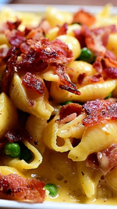 Shells Cheese With Bacon Peas Recipe With Images