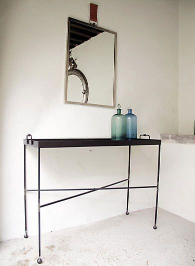 wrought iron console table- too wide but I love this look ...