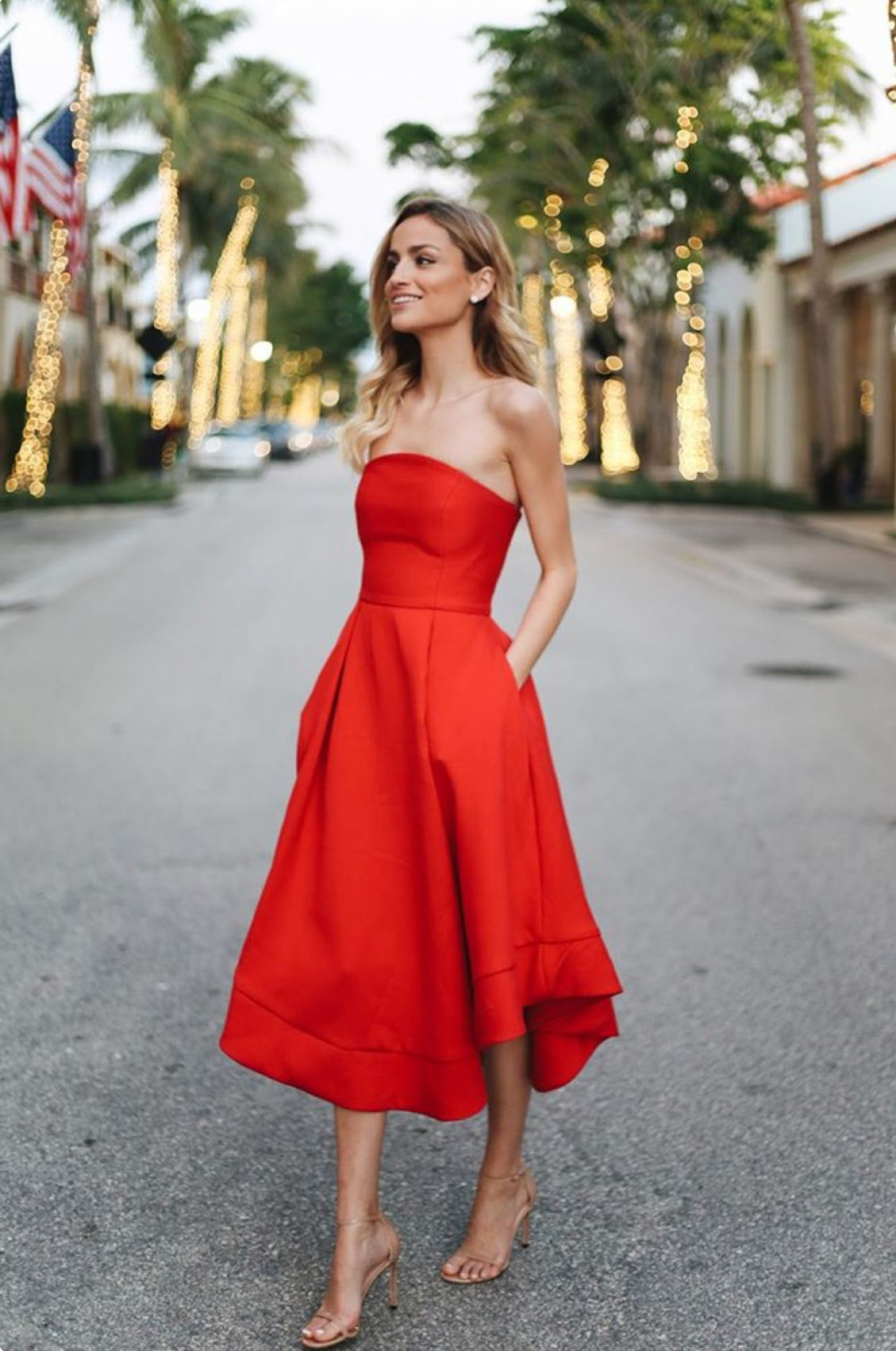 Charming a line sweetheart red tea length homecoming dresses with