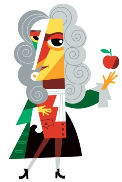 Awesome Illustrations By Pablo Lobato Caricaturas Isaac Newton