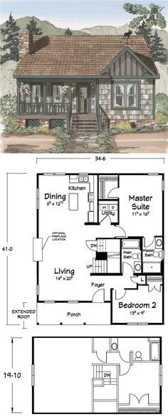 Dream Cabin I Love The Layout Of This One Basement House Plans Cottage Plan House Plans
