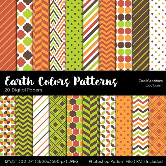 Photoshop Color Inspiration: Earth Colors Patterns, Digital Paper, 20 Digital Papers