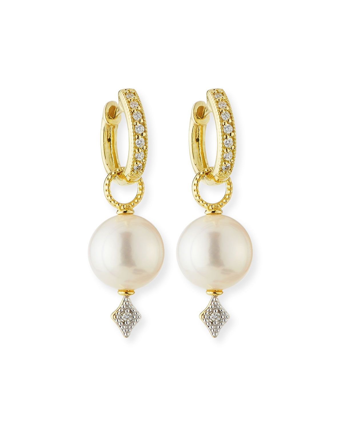 Jude Frances Lisse Large Pearl & Diamond Earring Charms n5Op2QP