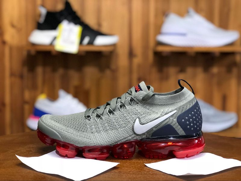 b0f04e85fd66 2018 Nike Air Vapormax Flyknit 2.0 Mens Athletic Shoes Gray Blue Red  942842-010