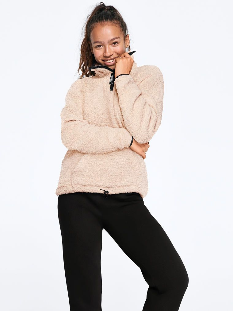 6722e07ce5eaf PINK Sherpa Quarter-Zip | Products in 2019 | Jackets, Sherpa ...
