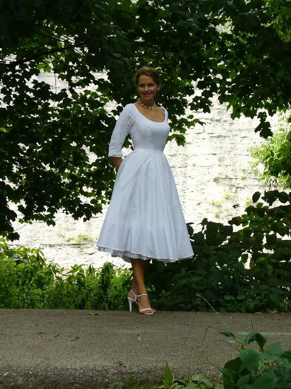 Eyelet Lace Simple Luxury Tea Length Vintage Wedding Dress From Porshes Place