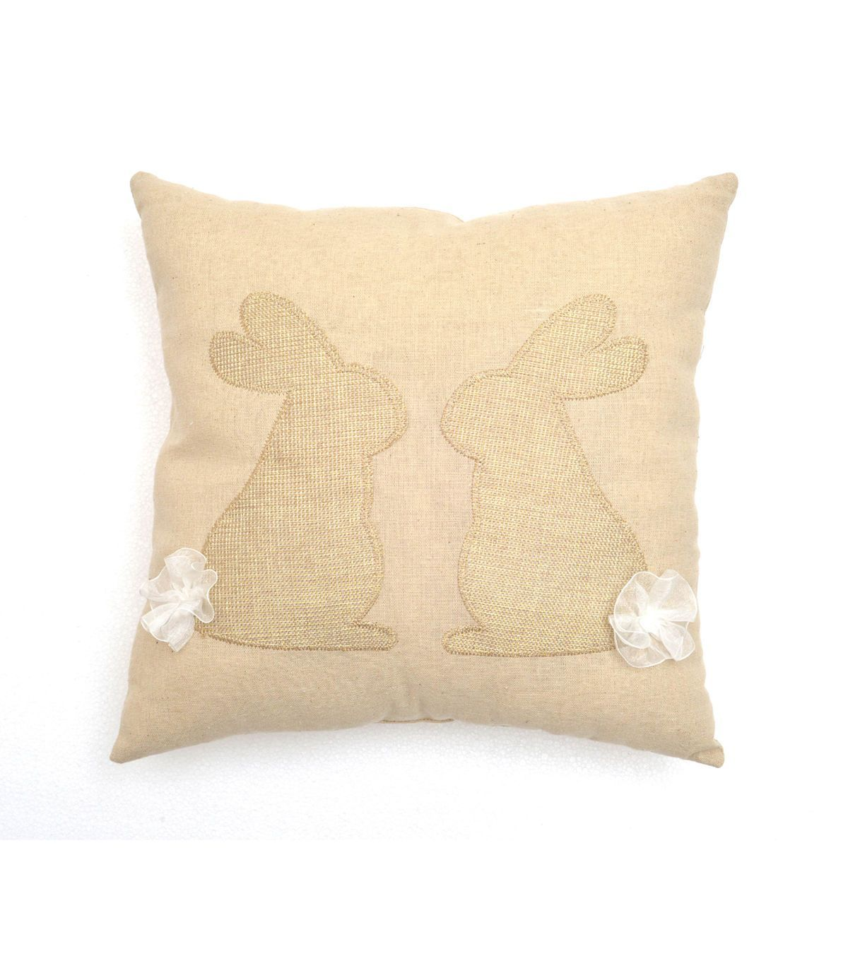 Easter 14''x14'' Pillow-Kissing Bunny With Tails