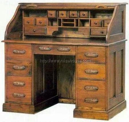 Study Desk Roll Top :an English-American indoor classic/antique furniture - English-American Furniture Study Desk Roll Top Home Decor