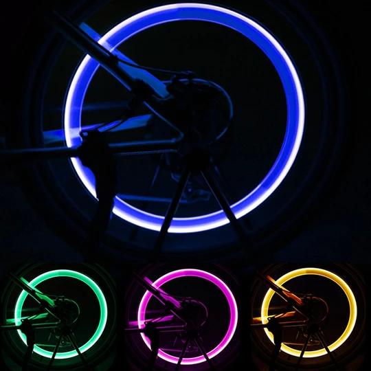 2x Bike light Wheel Tire Valve Cap Spoke Neon Lights 5 LED Lamp 32 changes light