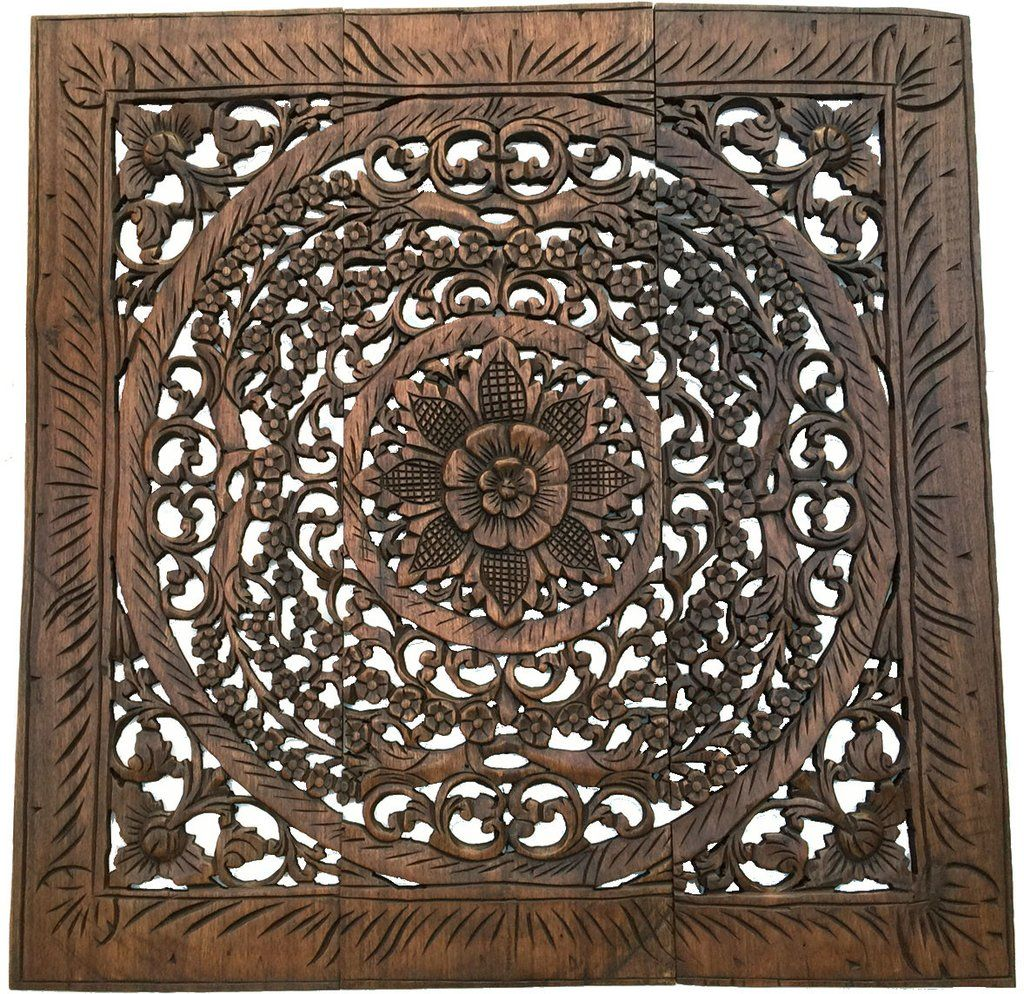 Elegant wood carved wall plaque wood carved floral wall art elegant wood carved wall plaque wood carved floral wall art balinese home decor amipublicfo Choice Image