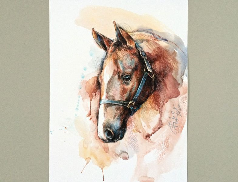 Aquarell Pferd Aquarell Bild Original Ein Designerstuck Von