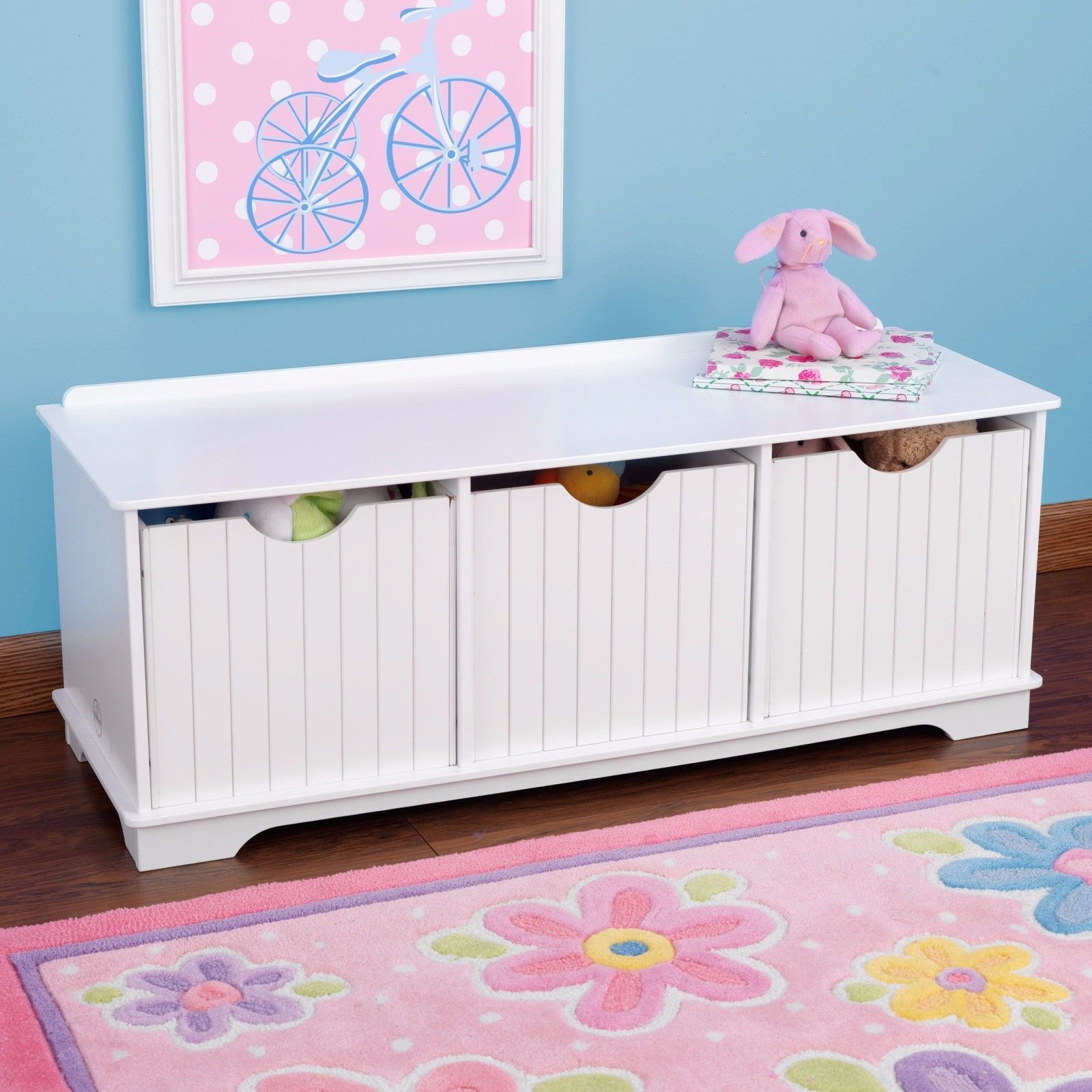 Childrens Storage Unit Kids Toy Box Storage Bench White Pastel
