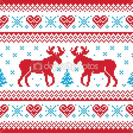 Red and blue Xmas seamless background with reindeer - nordic style