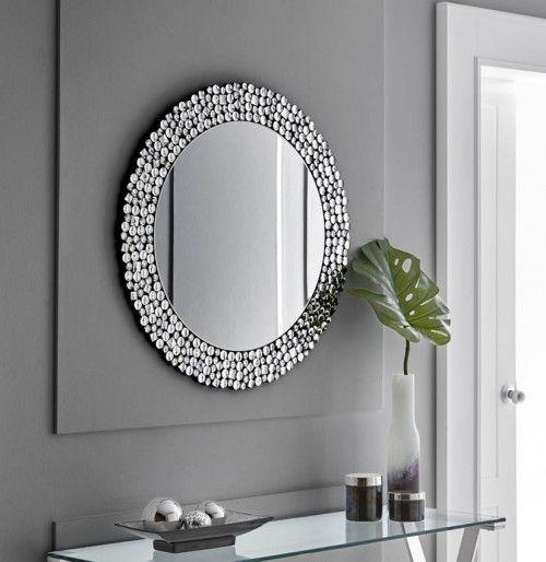 Espejo redondo con cristales facetados modelo alicante - Cristales decorativos para paredes ...