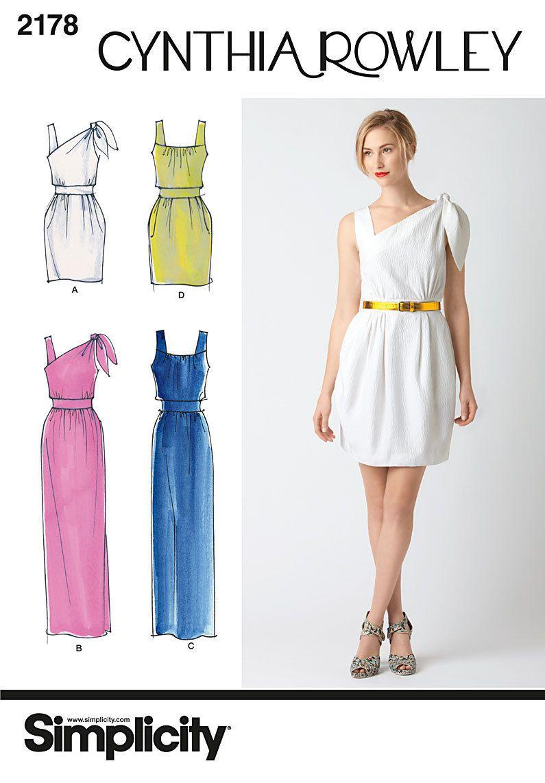 CYNTHIA ROWLEY Toga Style Goddess Dress Sewing Pattern S2178 Sz 6 8 ...