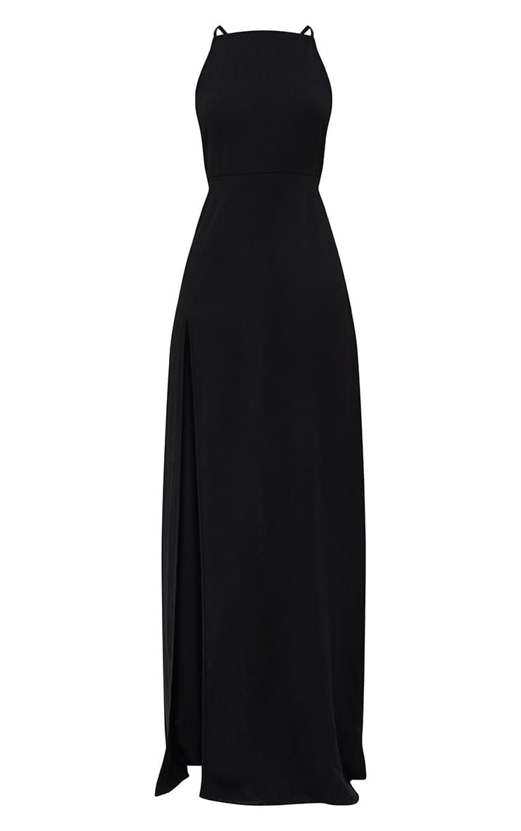 Black Strappy Back Detail Chiffon Maxi Dress Factory Outlet 6b8a6 6c6c5