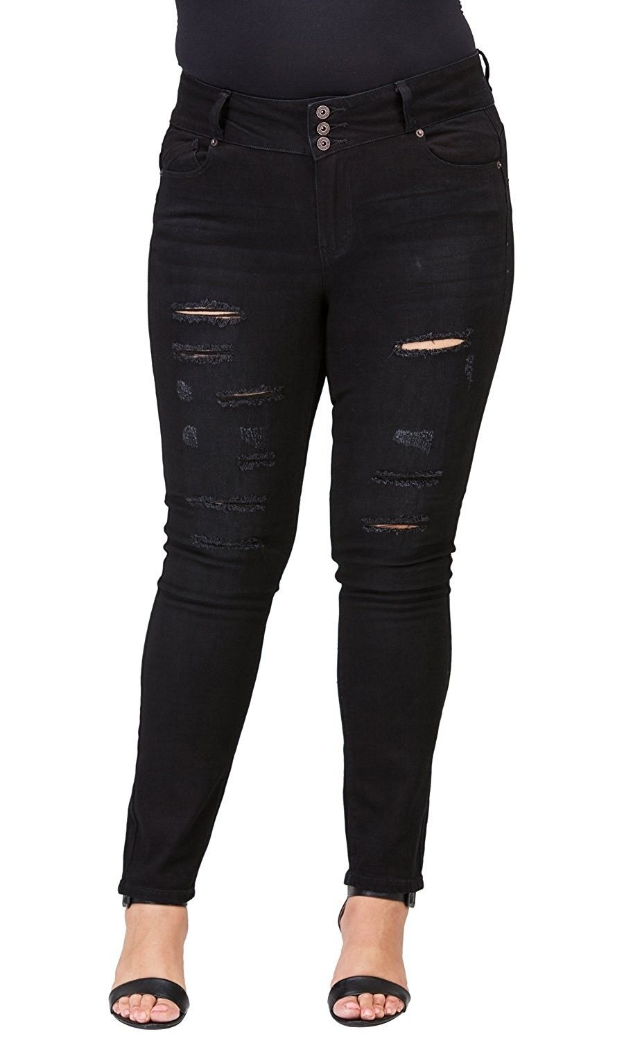 507fbd79f83d6 Women s Plus-Size Relaxed Fit Jeans - Black Rip9 - CY187S4LAE8 ...