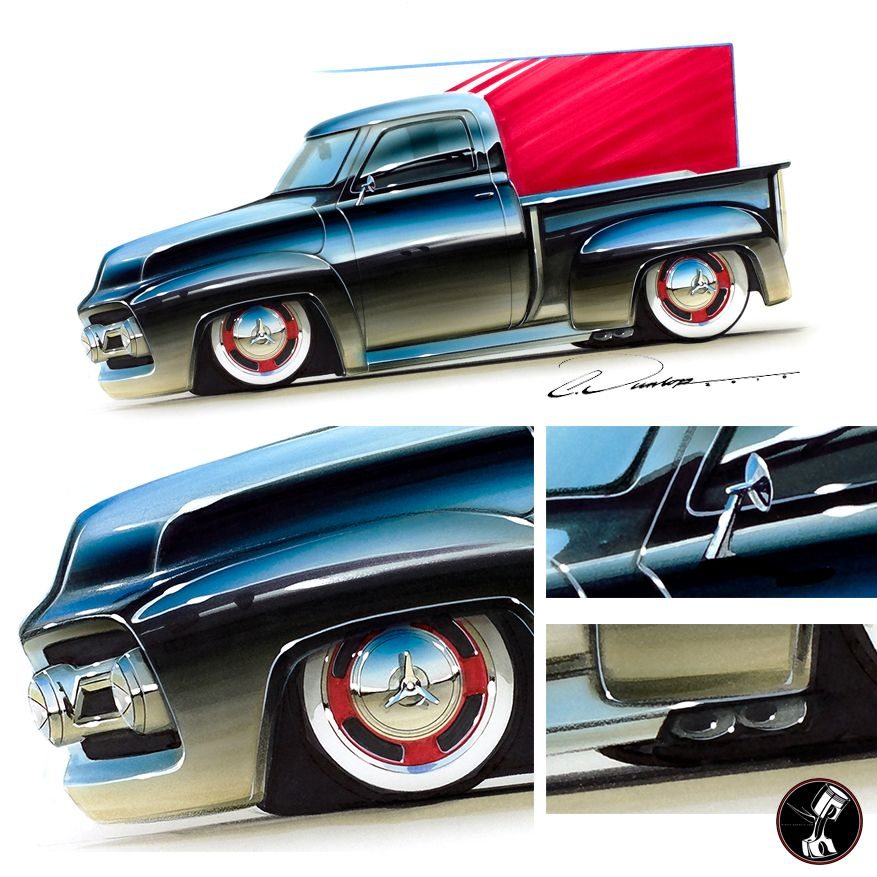 Custom 53 Ford F100 Marker Airbrush Rendering Custom Car Art