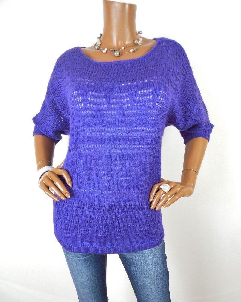 bb110b14ba0c2c CHICO S Sz 2 Womens Top M L Crochet Knit Sweater Shirt Summer Short Slvs  Purple  Chicos  Blouse  Casual