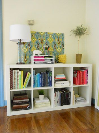 Expedit Ikea Hack a office organization sorting books by color office