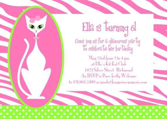 Glamour Kitty Cat Birthday Party Invitation by FrogPrincePaperie – Cat Party Invitations