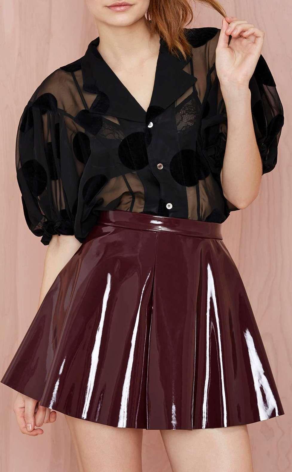 eecd5c16bc08 Glamorous Vinyl Frontier Skater Skirt   Fashion   Fashion, Pvc skirt ...
