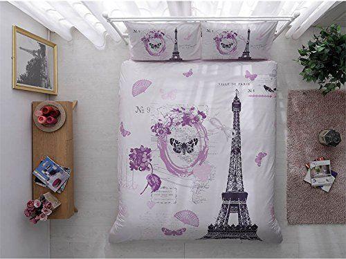 Paris Home 100 Cotton 4pcs Purple Single Twin Size Comforter Set