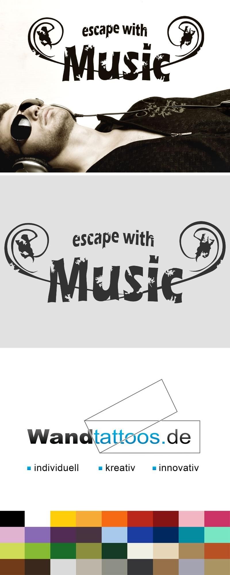 Luxury Wandtattoo Escape with music Vintage Schriftzug
