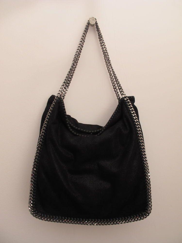 Stella McCartney Falabella Classic Black & Silver Chain Small Tote Women's Bag #StellaMcCartney #TotesShoppers #Falabella