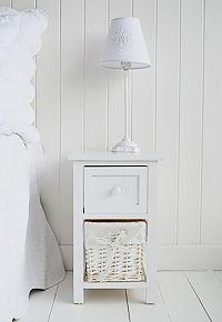 innovative design a4076 6c62f Bar Harbor white small narrow bedside table narrow 25cm wide ...