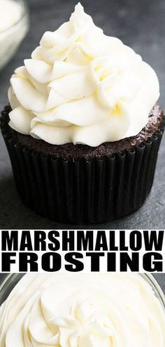 MARSHMALLOW FROSTING RECIPE from scratch- Quick, easy, homemade with 4 simple ingredients: Butter, sugar, marshmallow fluff, vanilla. It's rich, smooth, creamy, fluffy! No eggs! Use it on cake, cupcakes, cookies. From CakeWhiz.com #frosting #icing #marshmallows #marshmallowcream #marshmallowfluff #piping #cupcakes #dessert #dessertrecipes #buttercream #marshmallows
