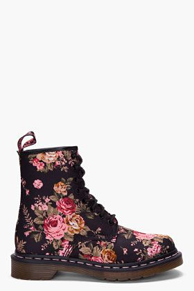 Dr. Martens Floral Print 8 Eye 1460 W Boots for women | SSENSE. Have these. They are very comfy.