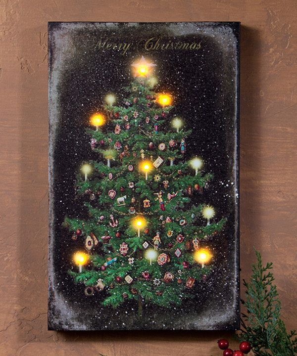Look At This Vintage Christmas Tree Light Up Canvas On Zulily Today Christmas Tree Canvas Vintage Christmas Tree Christmas Canvas