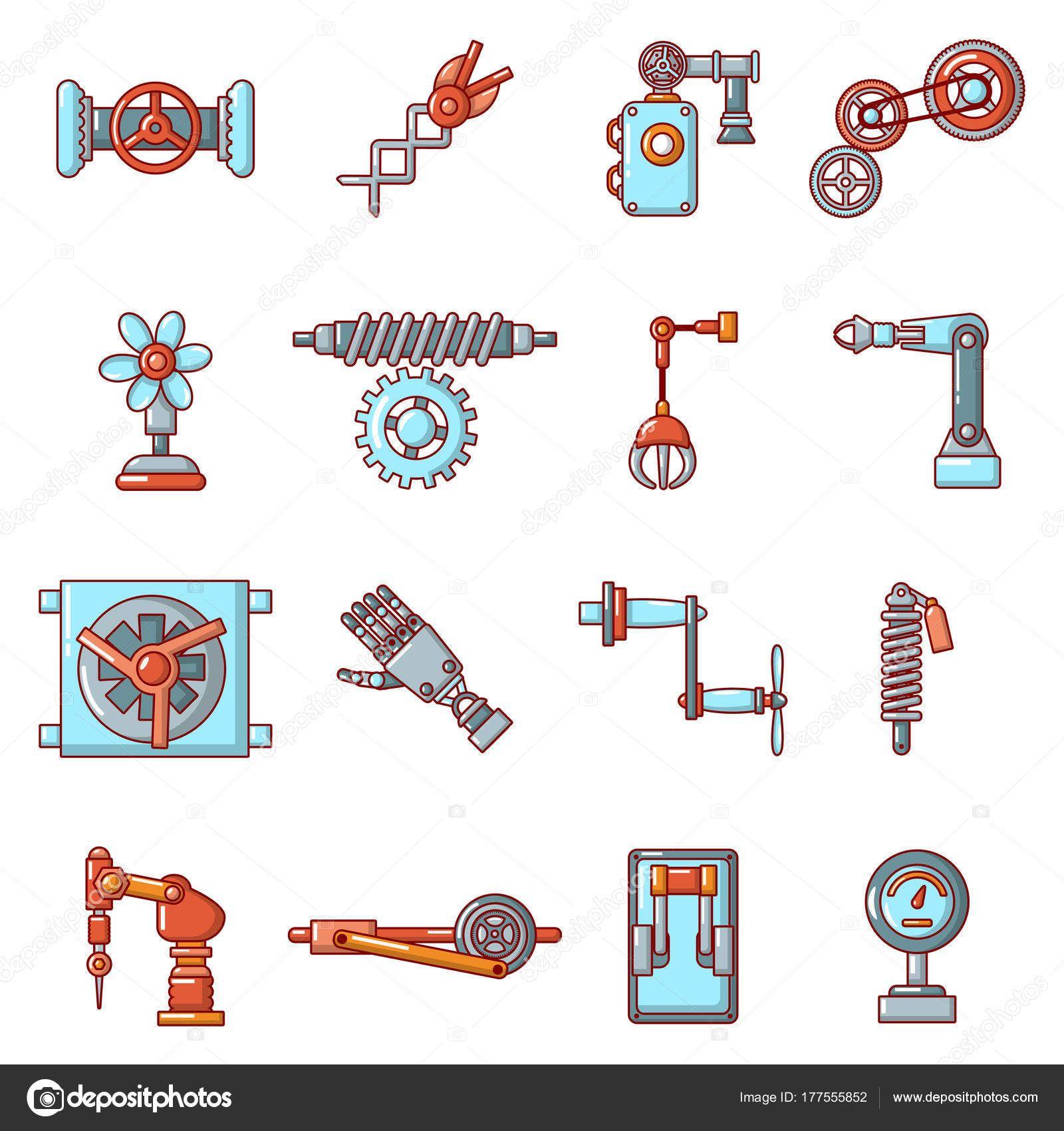 Descargar Conjunto De Iconos De Mecanismos Tecnicos Estilo De Dibujos Animados Ilustracion De Stock Conjunto De Iconos Estilos De Dibujo Iconos