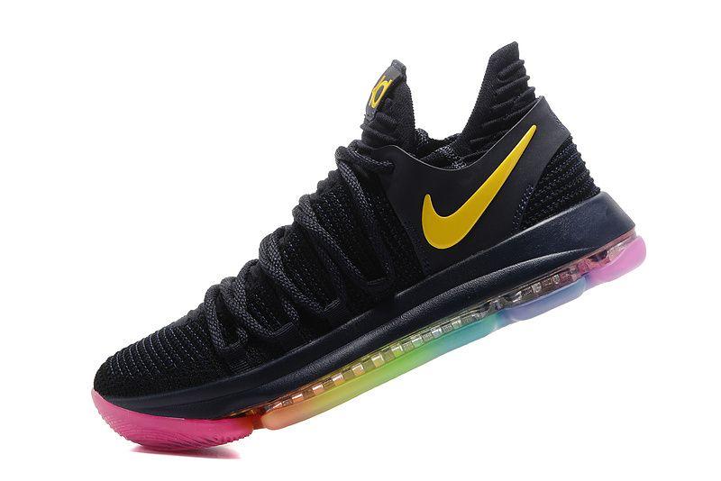 5373d1c9283 Nike Zoom KD 10 X Black Rainbow Multi Color | New Fashion shoes ...