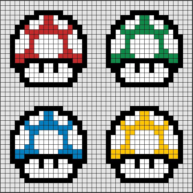Patrones Hama Beads de Setas (mushrooms) Mario Bros, uno de los ...