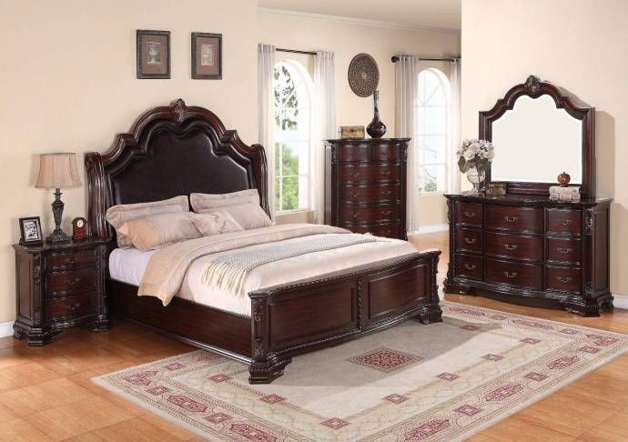 Crown Mark B1100 Sheffield Traditional Rich Brown Finish King - King-size-bedroom-sets-minimalist