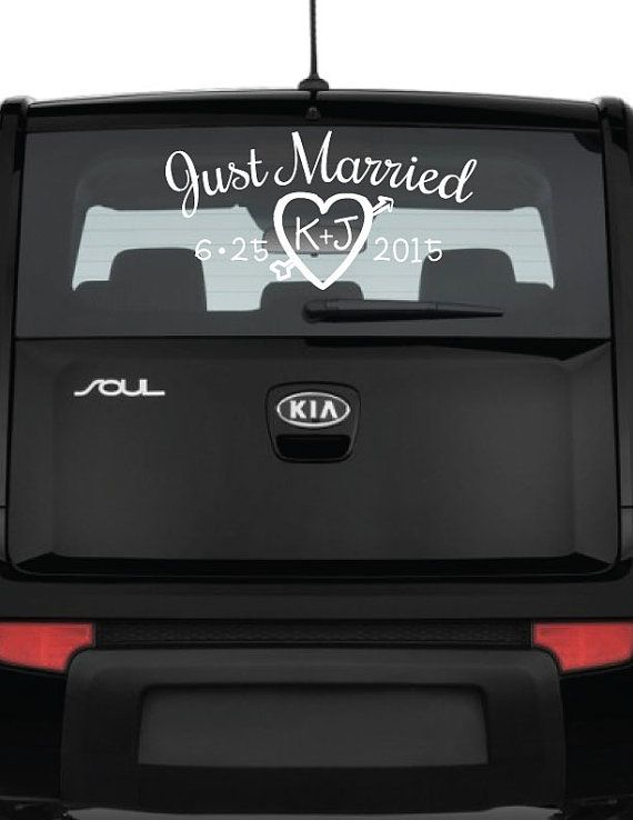 Just Married Car Decal Personalized Vinyl Decal Window Decal - Car window decals personalized