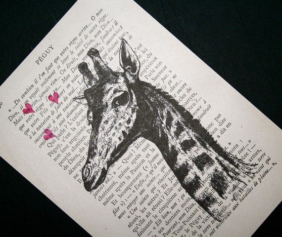 Loverboy Giraffe print on salvaged vintage French book page, by CrowBiz.  Swoon!