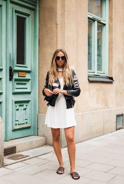 Idée Tenue Day to night : Jacket: lisa olsson blogger white dress mini dress leather date outfit slide shoes