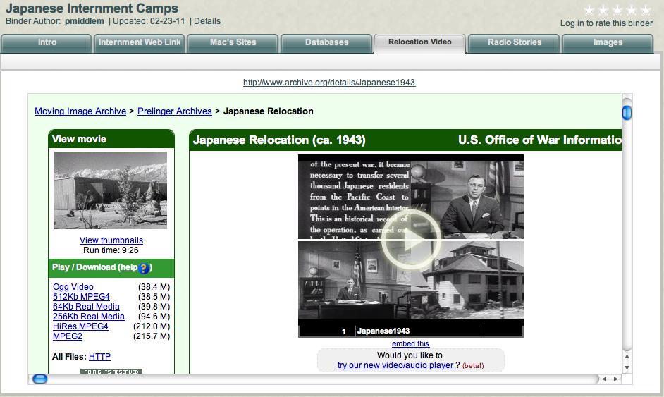 Great Japanese Internment Camp Livebinder