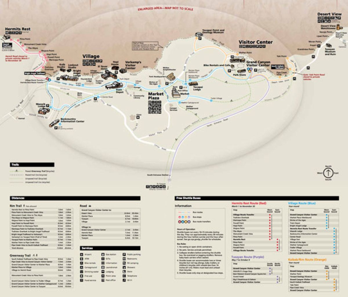 Download PDF Map of the South Rim and Grand Canyon Village. Find ...