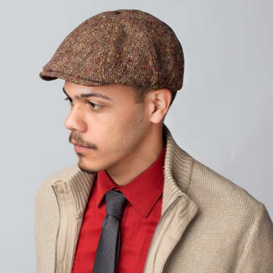 42b4a74f Stay classic in the Sammy 8-panel gatsby. Made in America of 100% wool,  this hat features an allover speckled tweed-like fabric and is adorned with  a strong ...